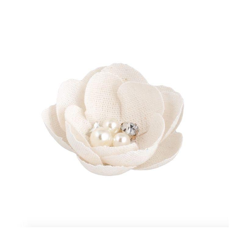 Dekoracija gėlytė Fiore su perlais įv. dydžių