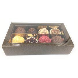 Dėžutė saldumynams Quadretto su skaidriu pvc. dangteliu