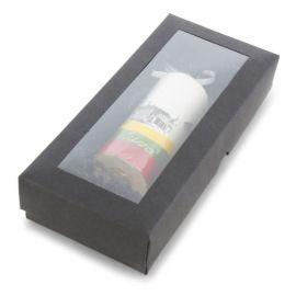 Dėžutė juoda iš kartono su langeliu 200 x 90 x 30 mm