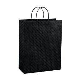 Juodas popierinis maišelis su įdėklu ir medžiaginėmis rankenėlėmis