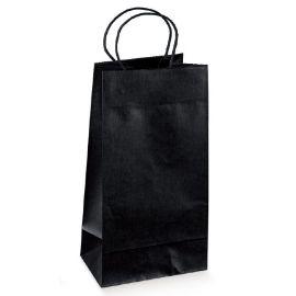 Juodas popierinis maišelis su medžiagine rankenėle