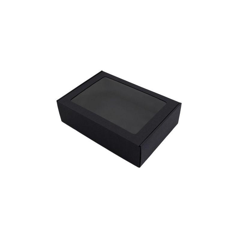 Dėžutė MS su skaidriu langeliu juoda