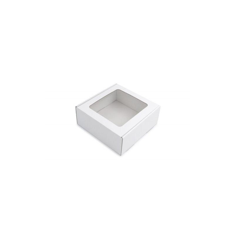 Dėžutė balta su skaidriu langeliu greito uždarymo