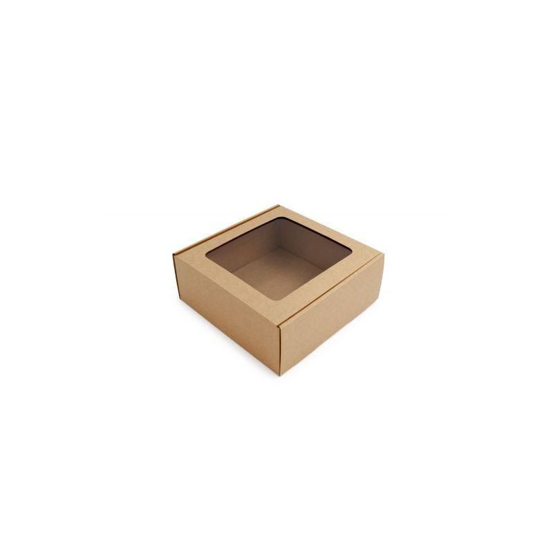 Dėžutė ruda su skaidriu langeliu greito uždarymo