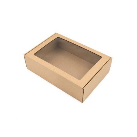 Dėžutė MS su skaidriu langeliu ruda