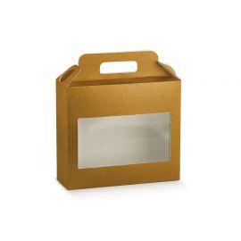 Dėžutė Valigetta su skaidriu langeliu auksinė