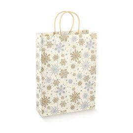 Kalėdinis popierinis maišelis su medžiagine rankenėle