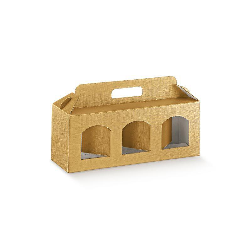 Dėžutė Portavasetti 3 skyriai auksinė