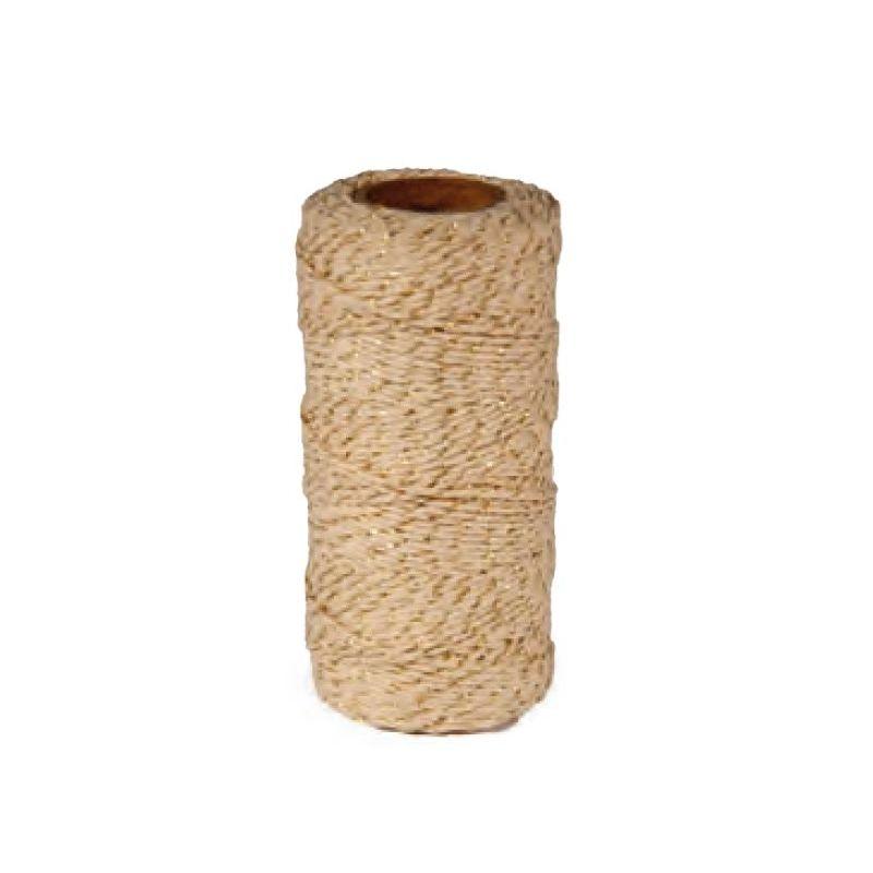 Medvilnės dvispalvė virvelė su auksu