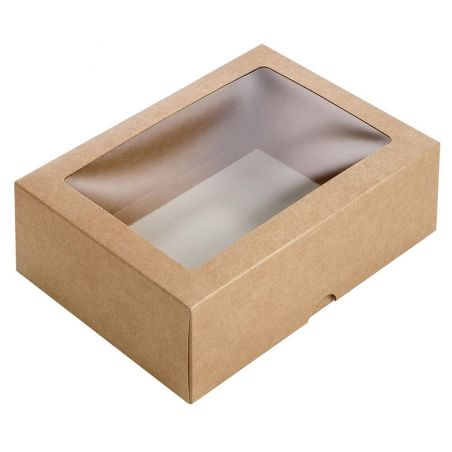 Dėžutė iš kartono su skaidriu langeliu ruda
