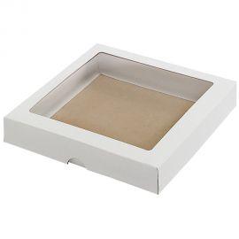 Dėžutė iš kartono su skaidriu langeliu balta