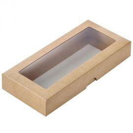Dėžutė ruda iš kartono su langeliu 200 x 90 x 30 mm