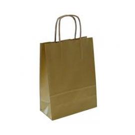 Metalic auksinis maišelis Twist rankenėlės Kraft popierius